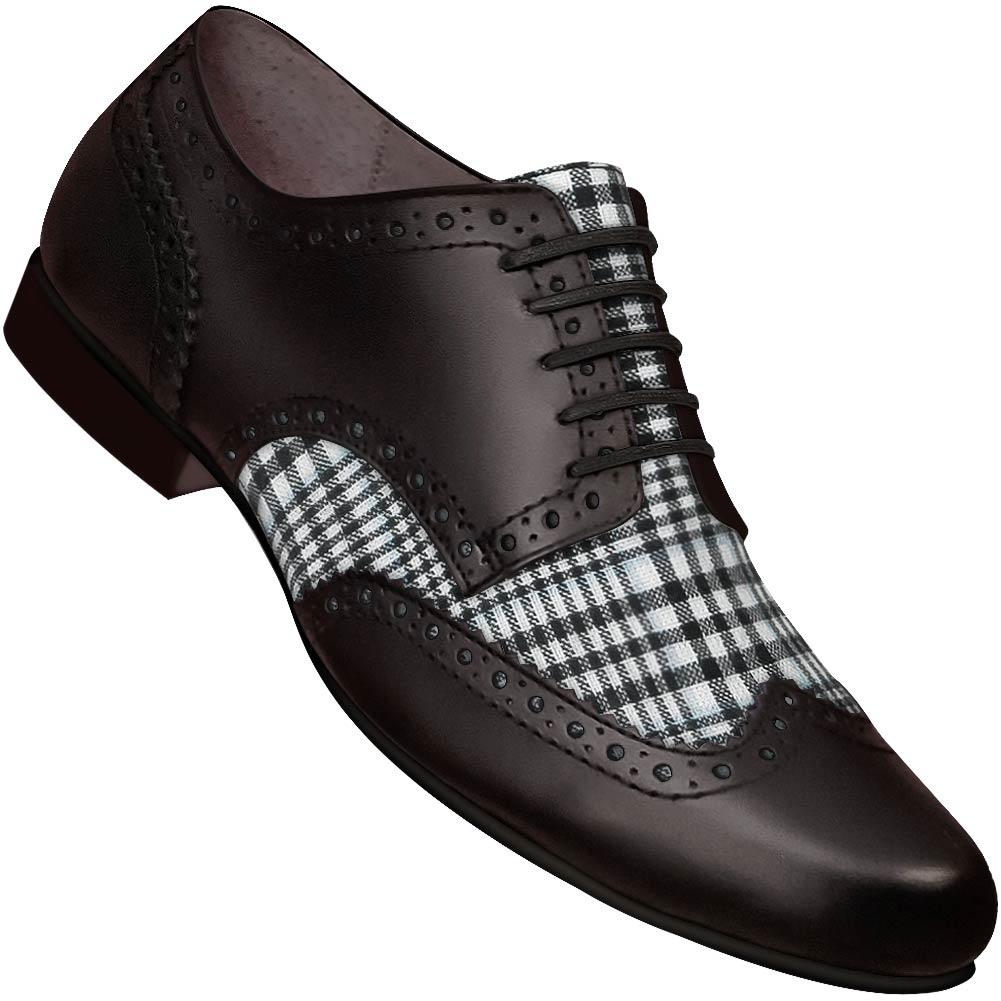 Aris Allen Men's Swing Era Spectator Plaid Wingtip Dance Shoe