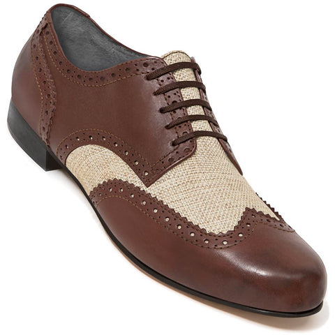 Aris Allen Men's Swing Era Cognac Leather & Ecru Linen Wingtip Dance Shoe *CLOSEOUT*