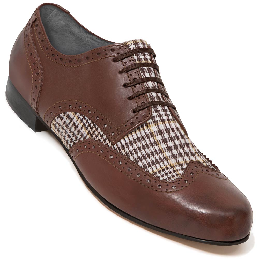 Aris Allen Men's Swing Era Spectator Brown Plaid Wingtip Dance Shoe
