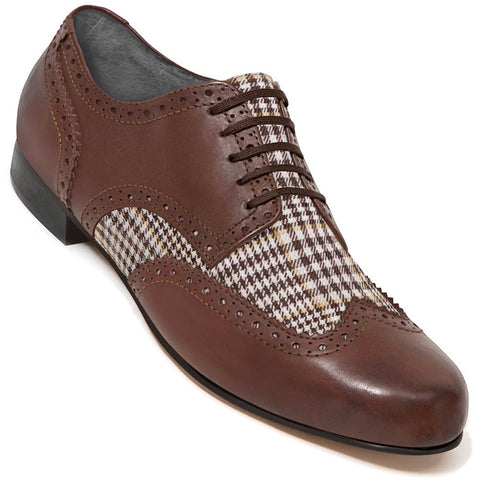 Aris Allen Men's Swing Era Cognac Leather & Plaid Linen Wingtip Dance Shoe