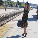 Vintage woman pinup waiting for train black heels dance shoes