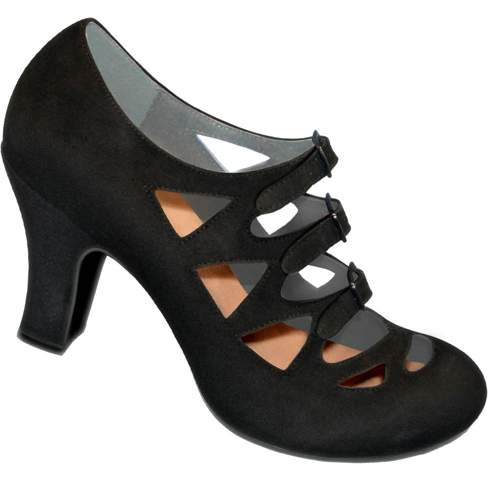 Aris Allen 1940s Women's Black Criss-Cross 3-Buckle Pump, dancestore.com - 1