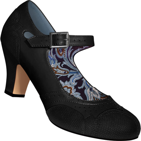 Aris Allen Women's Black Mary Jane Dance Shoes with Black Faux Lizard Accents