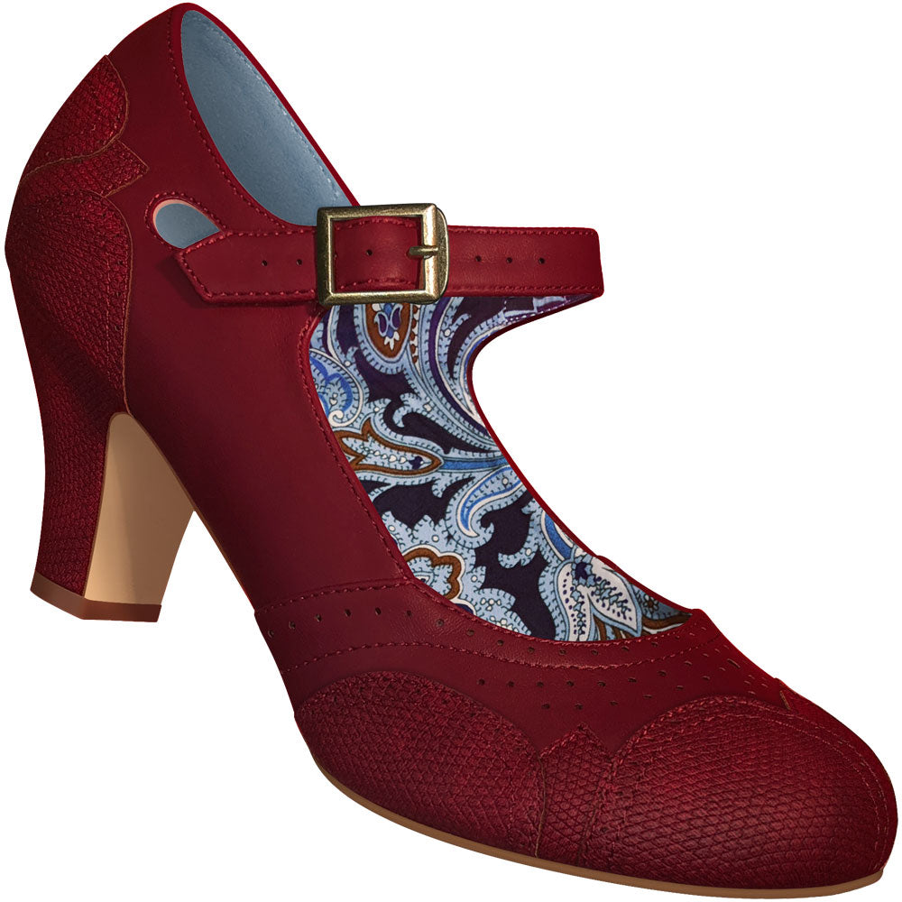 a7973e3c6e Aris Allen Women's Red Mary Jane Dance Shoes with Red Faux Lizard ...