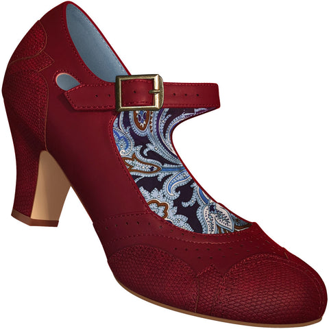 Aris Allen Women's Red Mary Jane Dance Shoes with Red Faux Lizard Accents