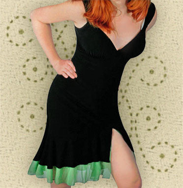Black Salsa Dress with Green Ruffles - CLEARANCE