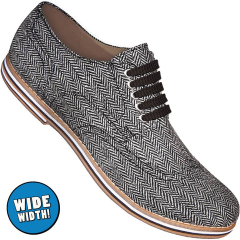 Aris Allen Men's Wide Herringbone Canvas Wingtip Dance Shoes (Black Laces)