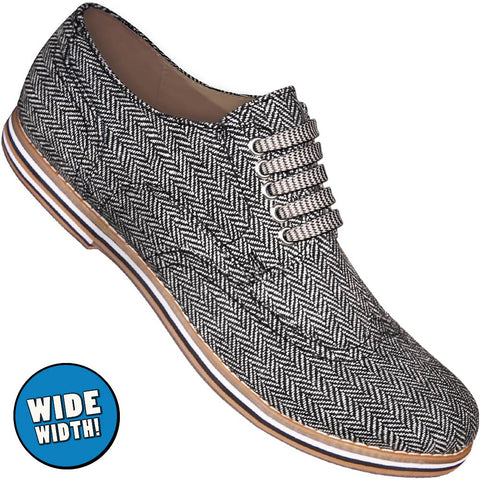 Aris Allen Men's Wide Herringbone Canvas Wingtip Dance Shoes (Striped Laces)