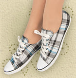 Aris Allen Women's Black, White and Blue Plaid Classic Tomboy Dance Sneaker - *Limited Sizes*, dancestore.com - 2