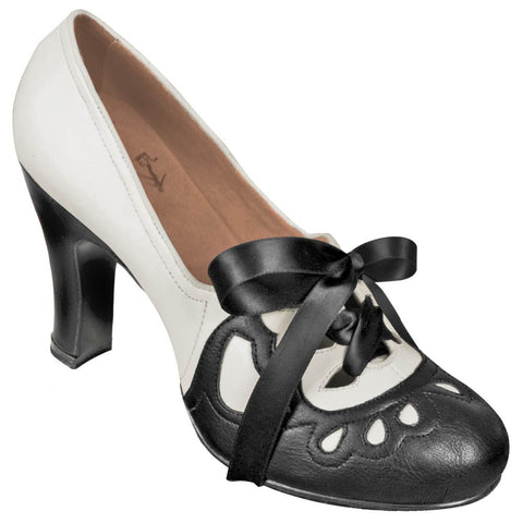 Aris Allen Women's 1930s Black and Ivory Lace-up Heeled Oxford Shoes - CLEARANCE - *Limited Sizes*