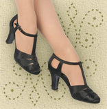Aris Allen Black Satin 1930s T-Strap d'Orsay Dance Shoes for Narrow Feet, dancestore.com - 2