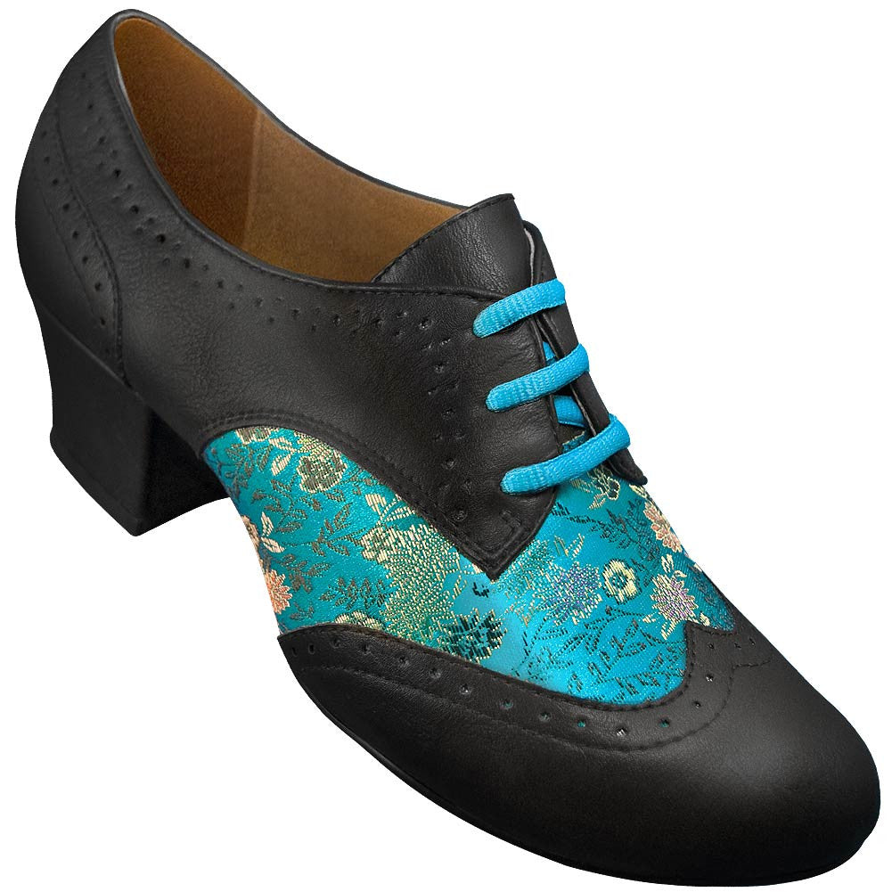 Aris Allen Women's Blue Brocade Spectator Oxford Wingtip Swing Shoes, dancestore.com - 1