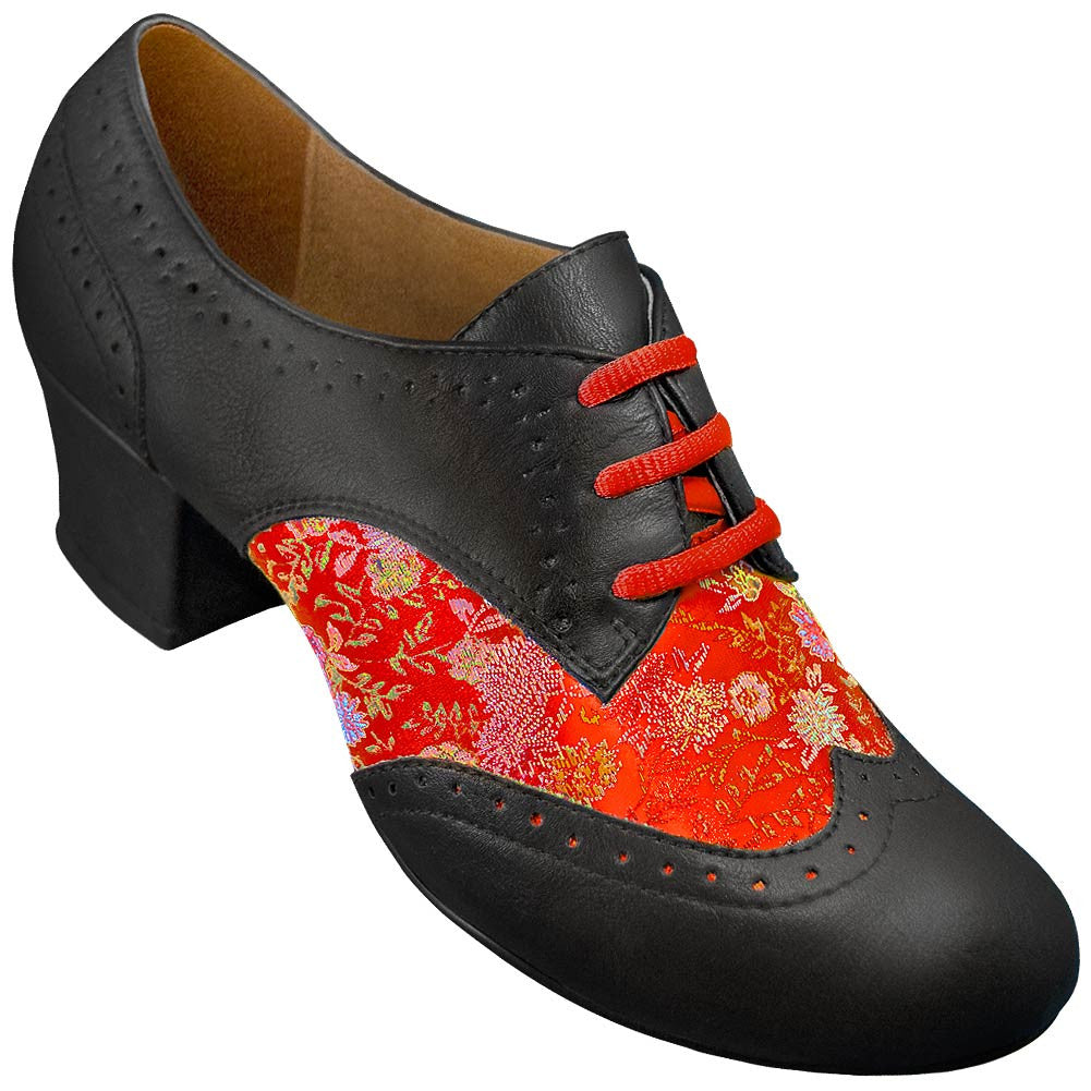 Aris Allen Women's Red Brocade Spectator Oxford Wingtip Swing Shoes, dancestore.com - 1