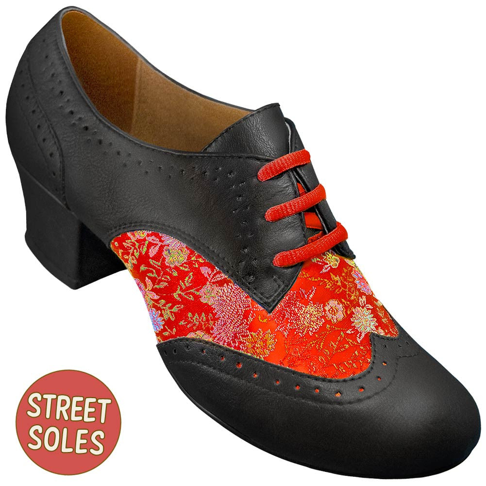 Aris Allen Women's Red Brocade Spectator Oxford Wingtips Street Soles, dancestore.com - 1