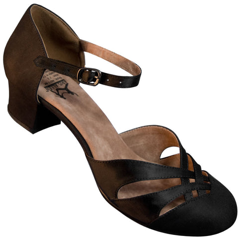 Aris Allen Women's Black 1920s Satin d'Orsay Swing Dance Shoes - CLEARANCE - *Limited Sizes*
