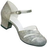 Aris Allen Women's Tinsel Silver 1920s d'Orsay Swing Dance Shoes