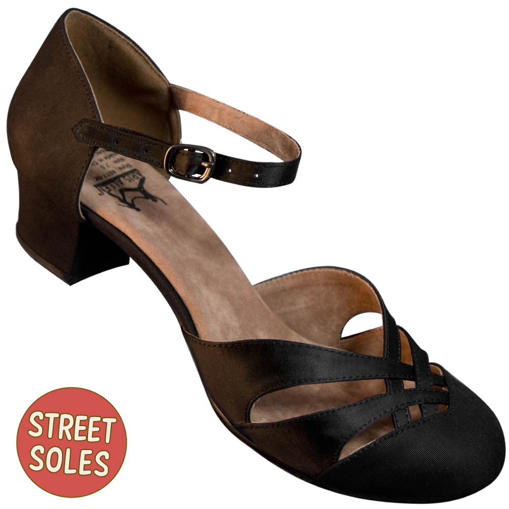 Aris Allen Women's Black 1920s Satin d'Orsay Shoes with Street Soles, dancestore.com - 1