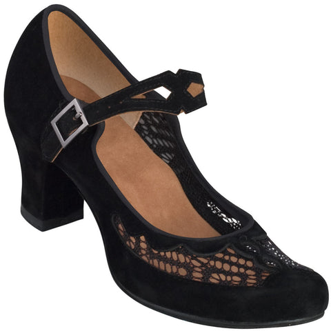 Aris Allen Women's 1940s Black Velvet & Mesh Mary Jane - CLEARANCE - *Only Size 5.5*