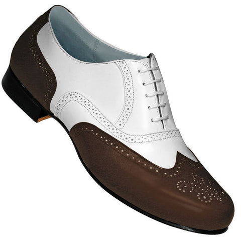 Aris Allen Men's 1930s Brown and White Spat Style Wingtip Dance Shoe