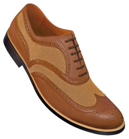 Aris Allen Men's 1950s Brown Mesh Wingtip Dance Shoe *Limited Sizes*