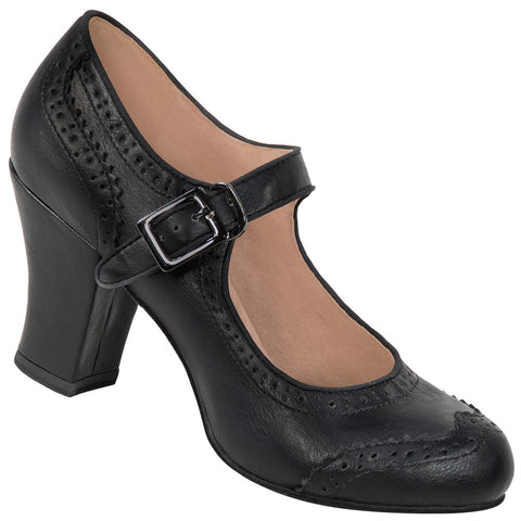 Aris Allen Black 1940s Heeled Wingtip Mary Jane Swing Dance Shoe - *Limited Sizes*
