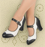 Aris Allen Black and White 1940s Heeled Wingtip Mary Jane Swing Dance Shoe - *Limited Sizes*, dancestore.com - 2