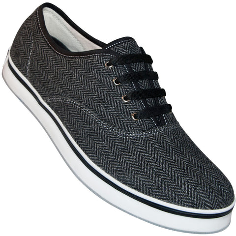 Aris Allen Men's Black and Dark Grey Herringbone Dress Dance Sneaker - *Only Large Sizes*