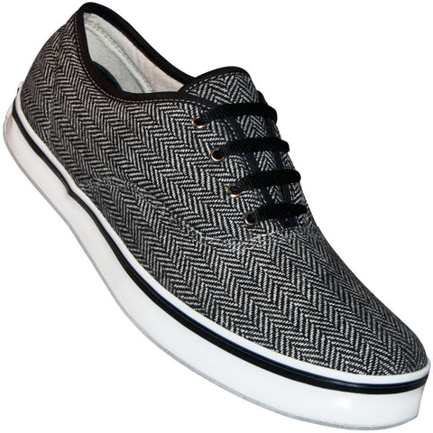 Aris Allen Men's Black & Light Grey Herringbone Dress Dance Sneaker  - *Only Large Sizes*