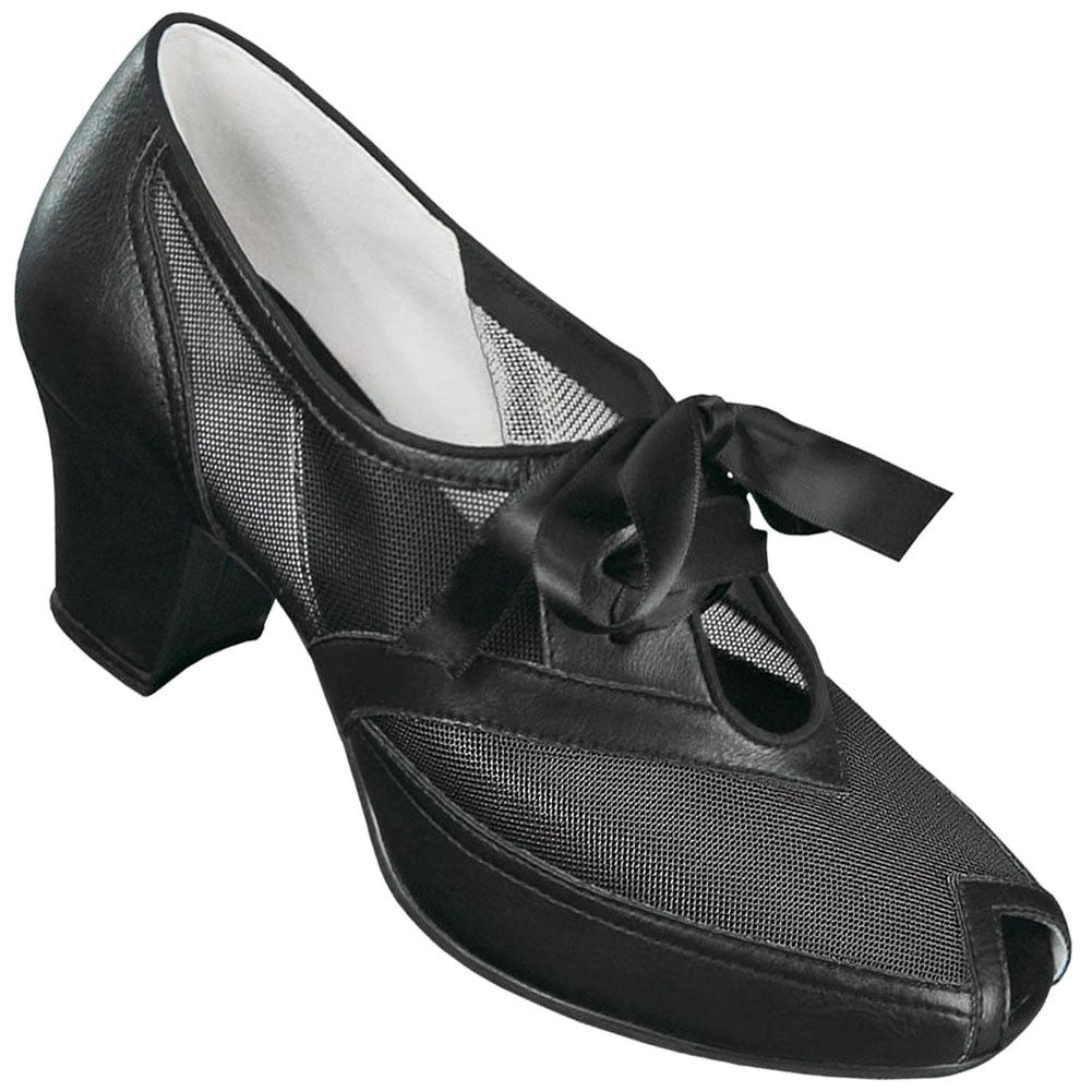 Aris Allen Black 1940s Peep-Toe Mesh Oxford Swing Dance Shoes - *Limited Sizes*, dancestore.com - 1
