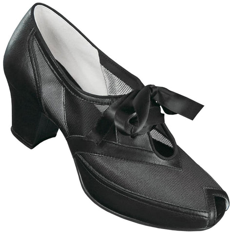 Aris Allen Black 1940s Peep-Toe Mesh Oxford Swing Dance Shoes - CLEARANCE - *Limited Sizes*