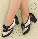 Aris Allen Black and White 1940s Peep-Toe Mesh Oxford Swing Dance Shoes - *Limited Sizes*, dancestore.com - 2