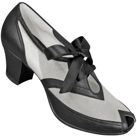 Aris Allen Black and White 1940s Peep-Toe Mesh Oxford Swing Dance Shoes - CLEARANCE - *Limited Sizes*