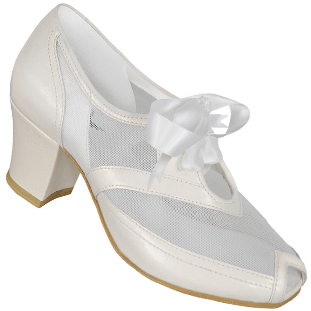 Aris Allen White 1940s Peep-Toe Mesh Oxford Swing Dance Shoes *Limited Sizes*, dancestore.com - 1