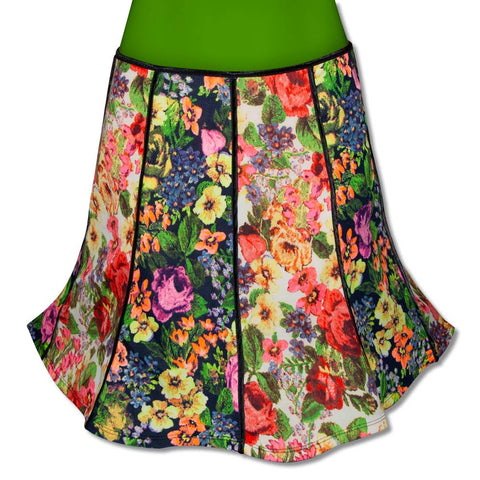 Vintage Inspired Panel Skirt with Vibrant Flowers