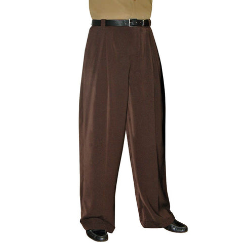 Men's Brown Wide Leg Pleated Trousers - Unhemmed - CLOSEOUT - *Limited Sizes*