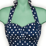Navy Blue and White Polka Dot Halter Dress, dancestore.com - 2