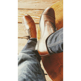 Mens leather brown captoe dance shoes