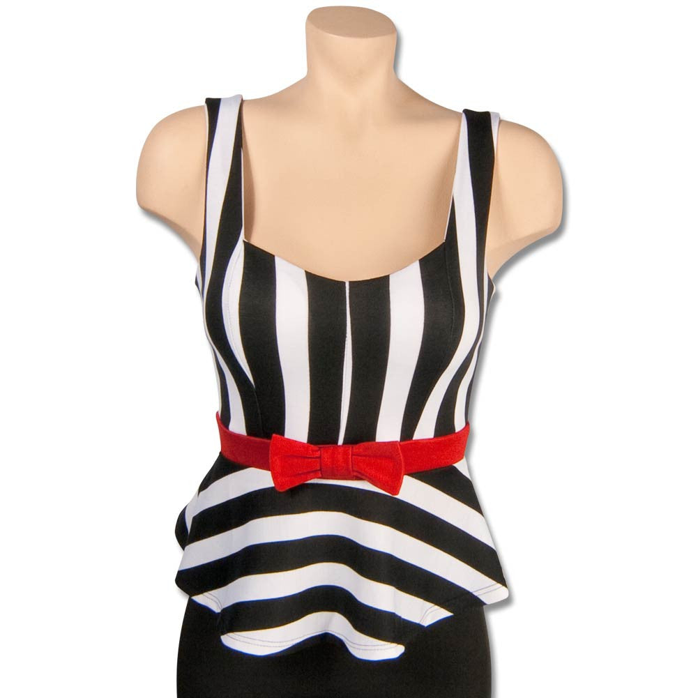 Black and White Striped Peplum Shirt with Red Bow, dancestore.com - 1