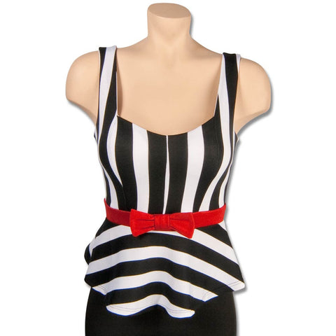 Black and White Striped Peplum Shirt with Red Bow