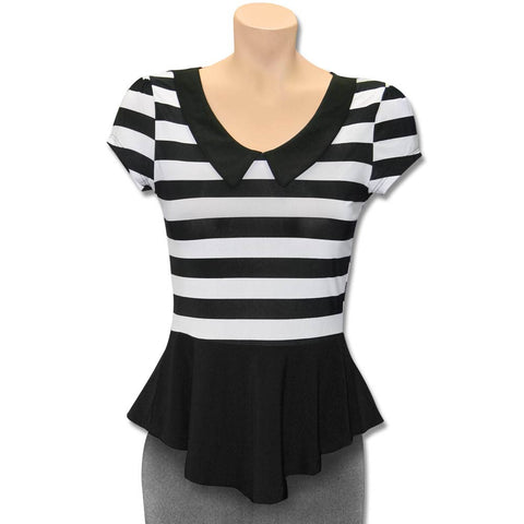 Women's Black and White Striped Peplum Blouse *Limited Sizes*