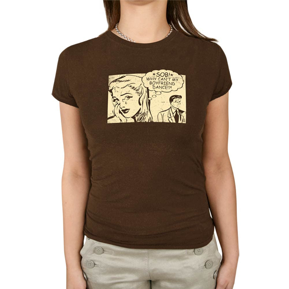 Aris Allen Why Can't My Boyfriend Dance T-Shirt - Brown, dancestore.com