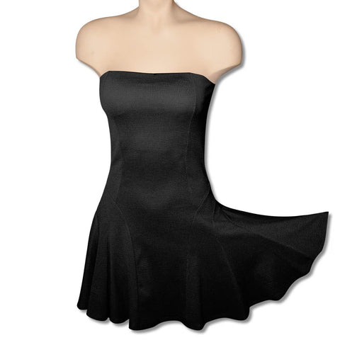 Black Strapless Twirly Dress