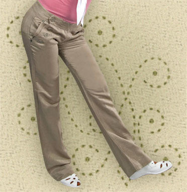 Women's Taupe Linen 8 Button Sailor Pants - CLOSEOUT