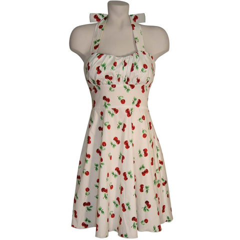 Cherries on White Halter Fit-and-Flare Dress