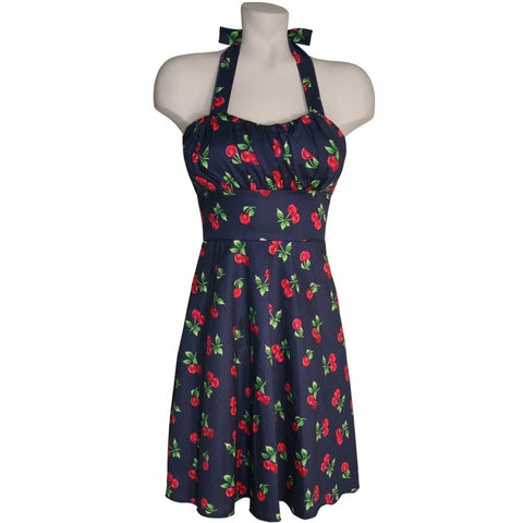 Cherries on Navy Blue Halter Fit-and-Flare Dress