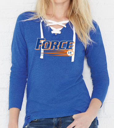 Iowa Elite Force - Ladies Lace-Up Long Sleeve Tshirt