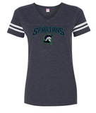 Spartans - PERSONALIZED Ladies Football V-Neck Jersey Tshirt (Multiple Colors)