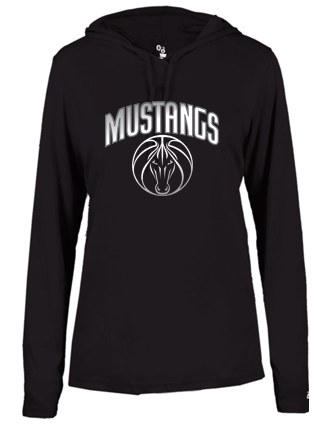 Mustangs - Women's Long Sleeve Hooded Tshirt in Various Colors (Grey Design)