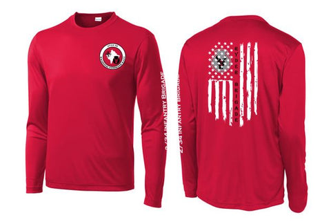 2/34 Infantry Brigade Civilian Store - Unisex PosiCharge Competitor Long Sleeve T-Shirt (Red)
