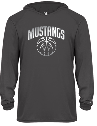 Mustangs - Youth Hooded Tshirt in Various Colors (Grey Design)